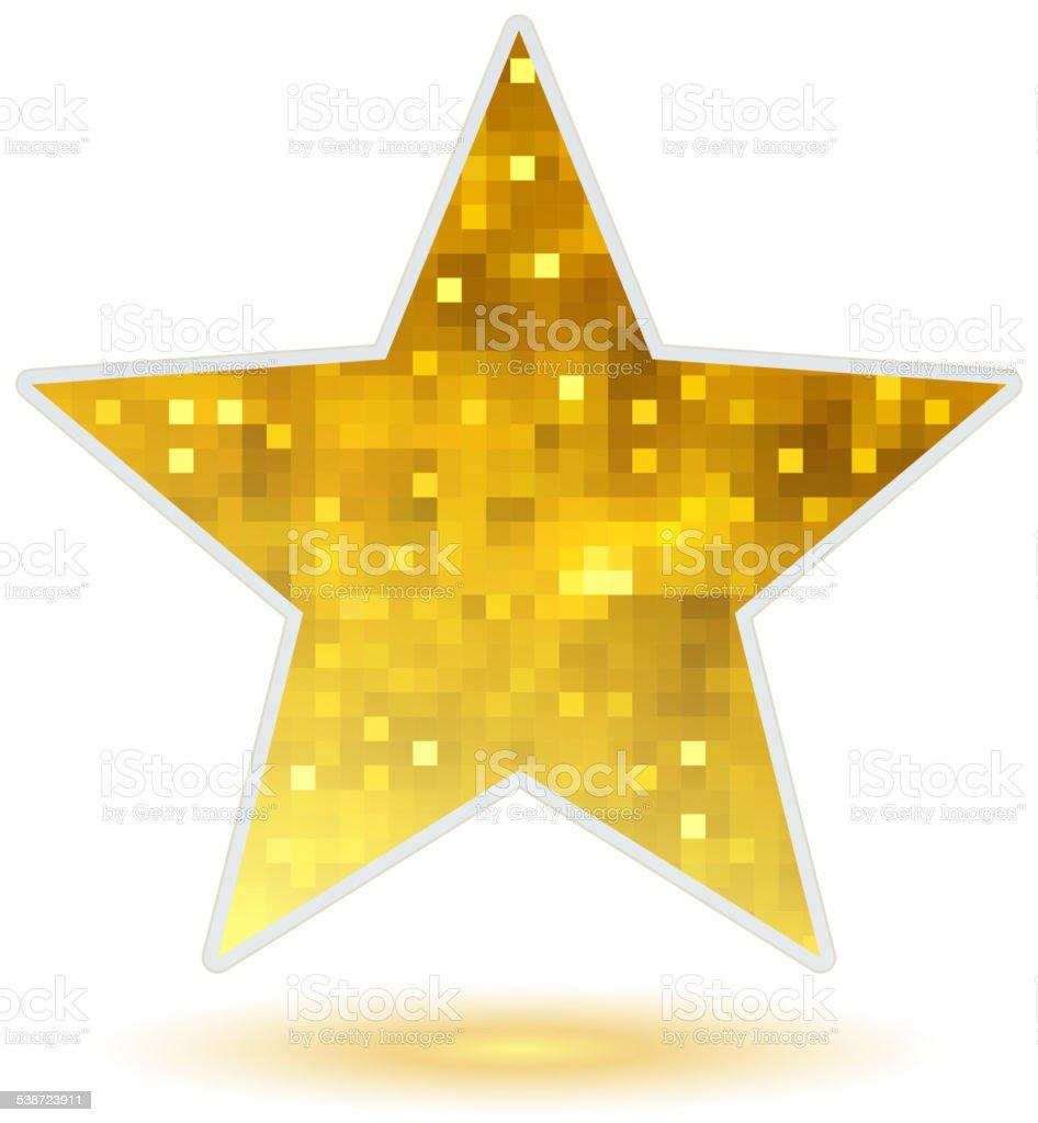 Golden mosaic faceted glitter star. vector art illustration