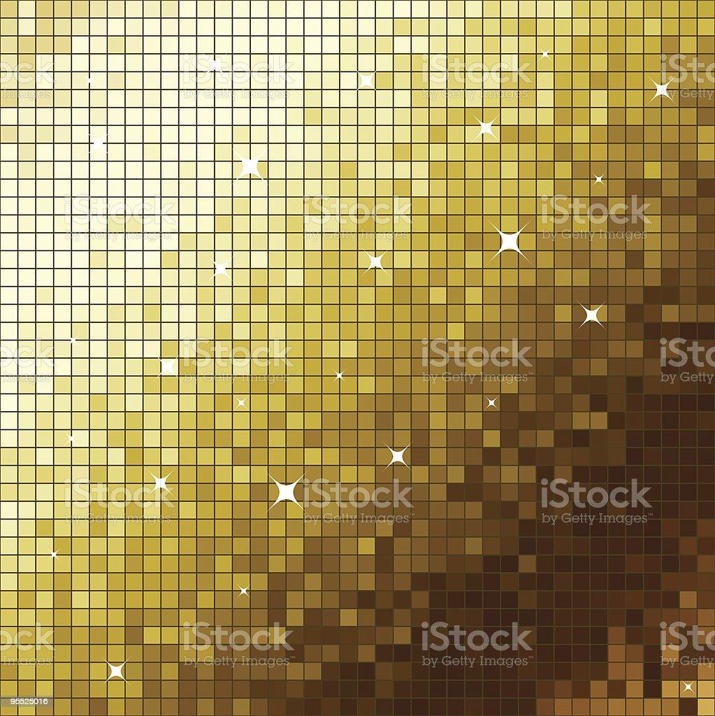 Golden mosaic vector art illustration