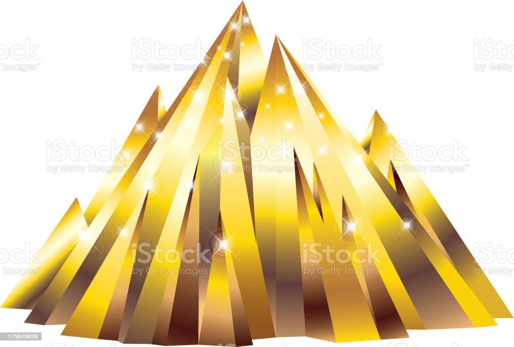 Golden mountain vector art illustration