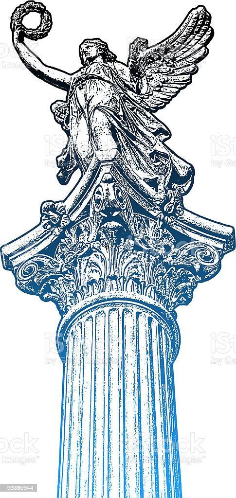 Golden muse statue, the head of candelabrum royalty-free stock vector art