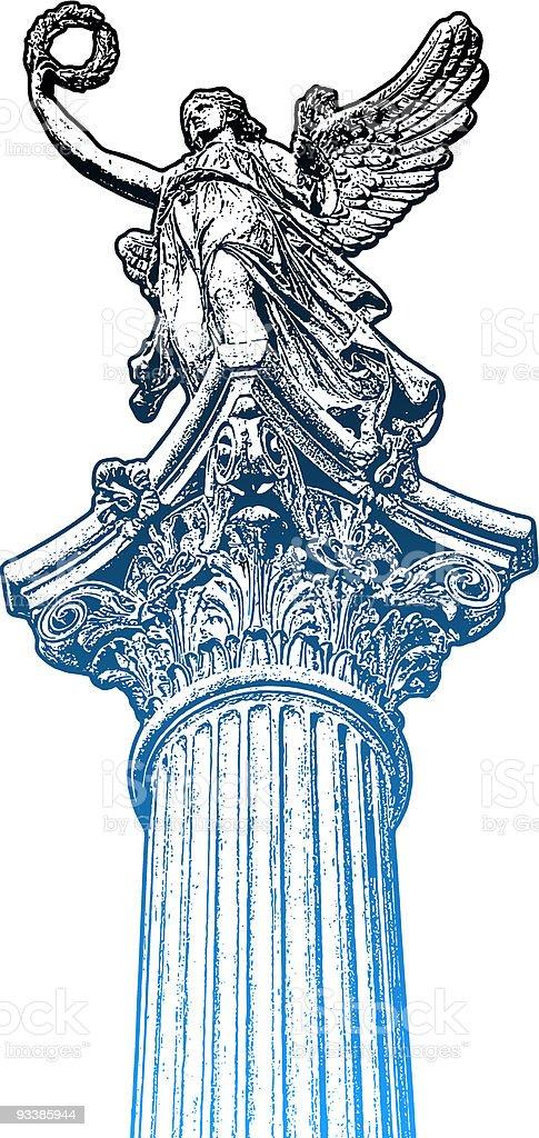 Golden muse statue, the head of candelabrum vector art illustration