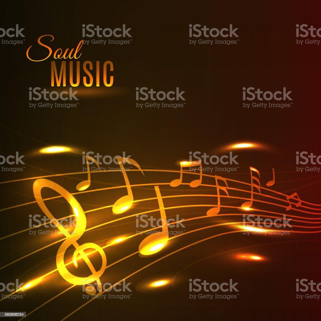 Golden music notes stave poster vector art illustration