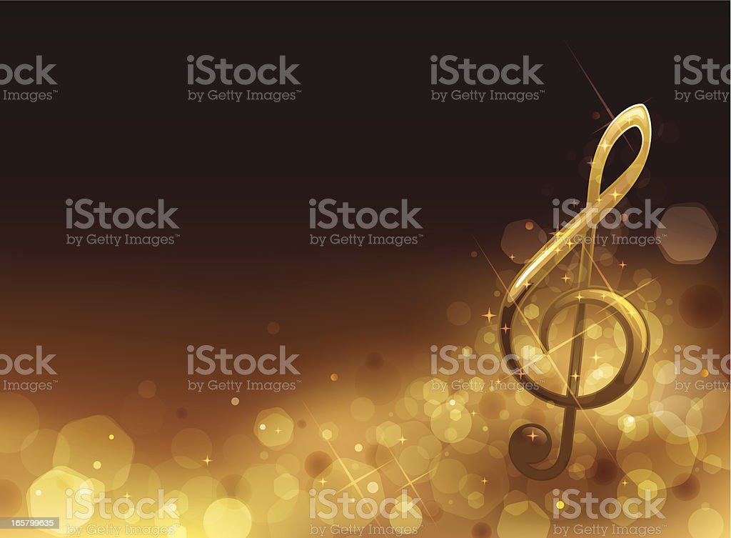 Golden Musical Background vector art illustration