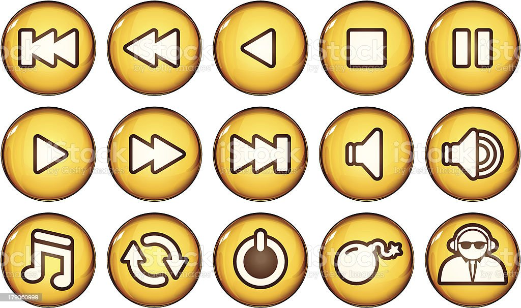 Golden Nagivation Icons royalty-free stock vector art
