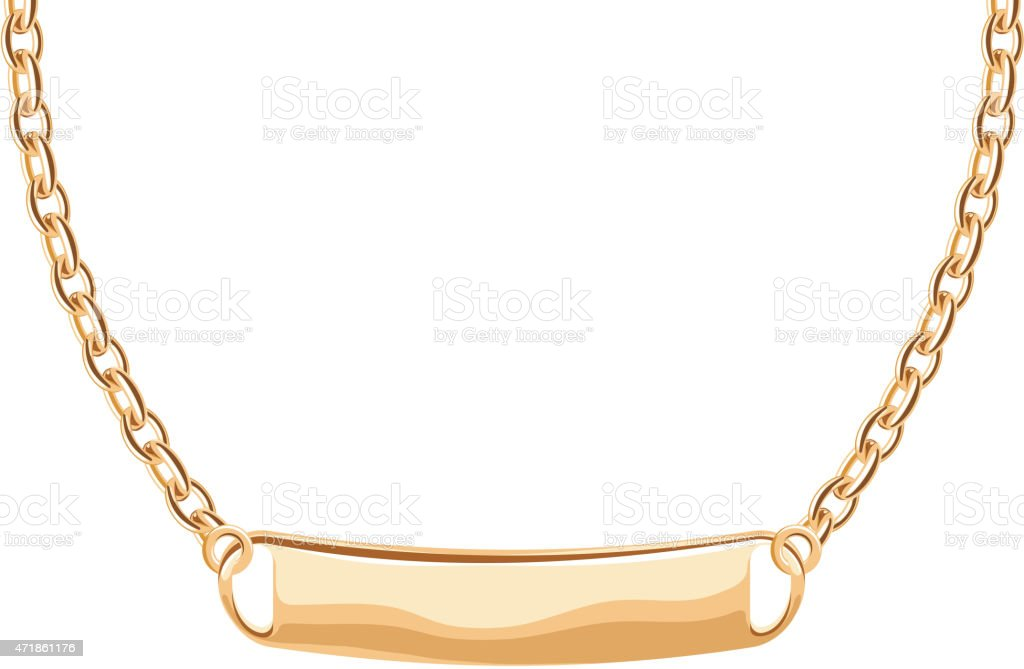 Golden name or greeting tag pendant on chain necklace vector art illustration