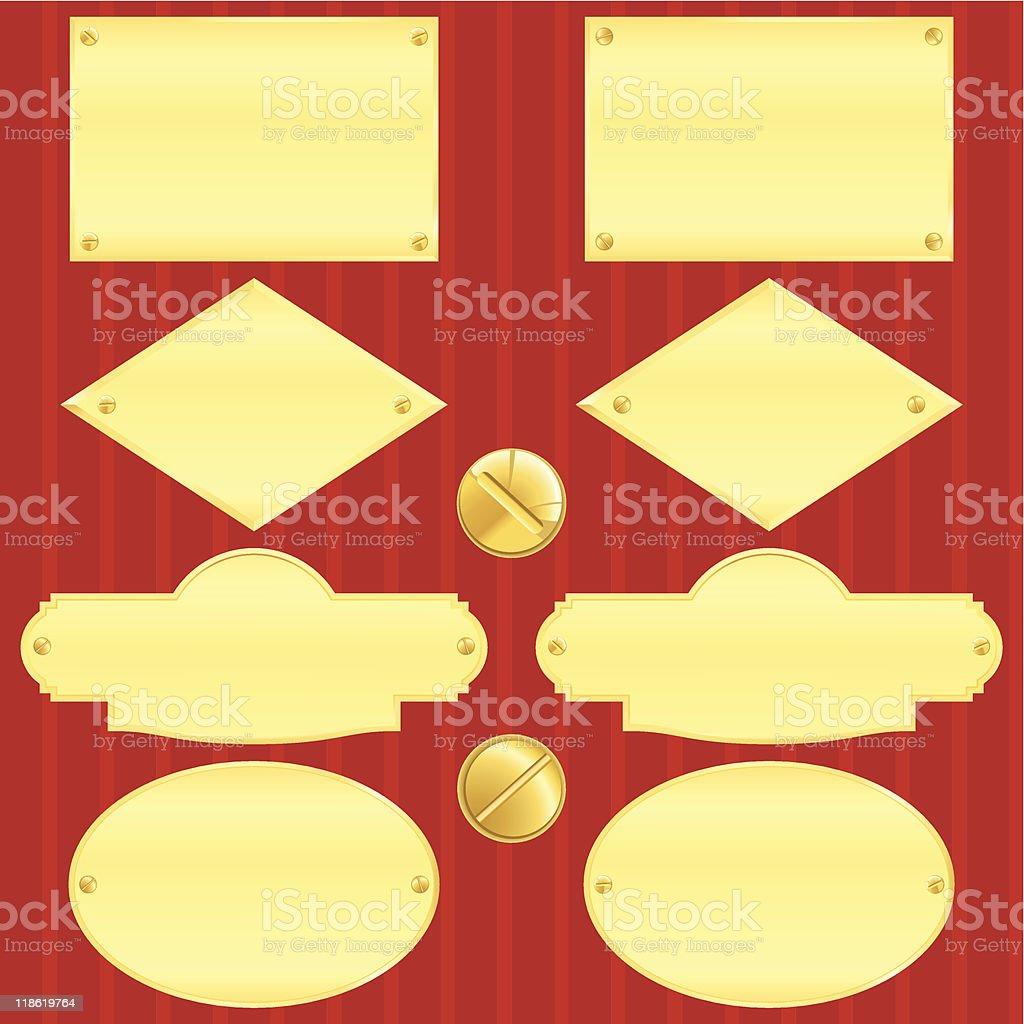 Golden nameplate set(vector, CMYK) royalty-free stock vector art
