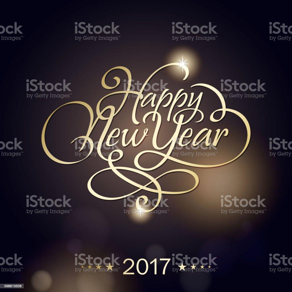 Golden New Year 2017 vector art illustration
