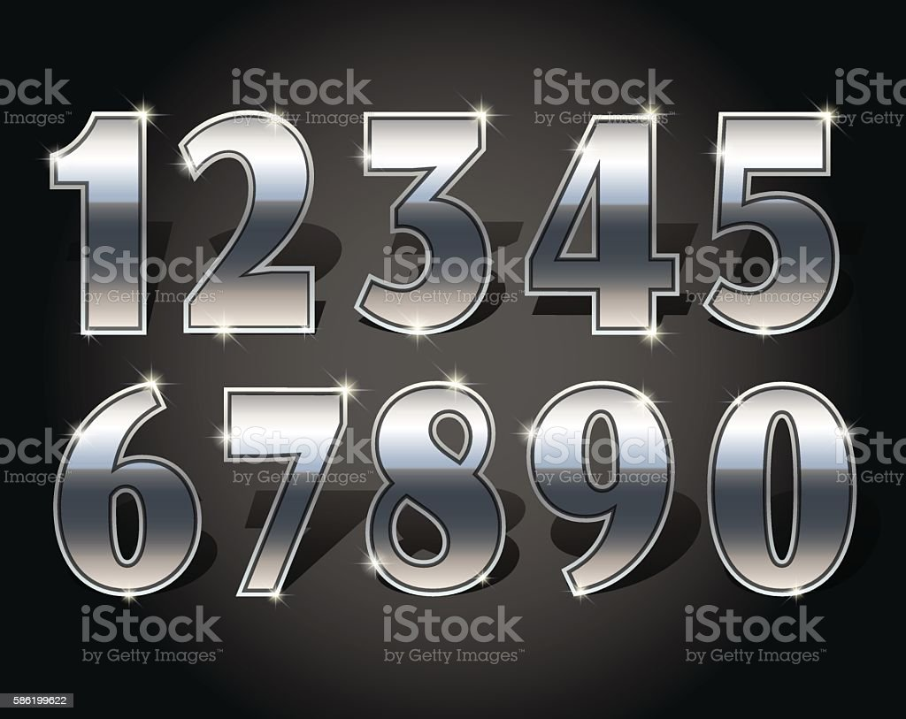 Golden numbers set vector art illustration