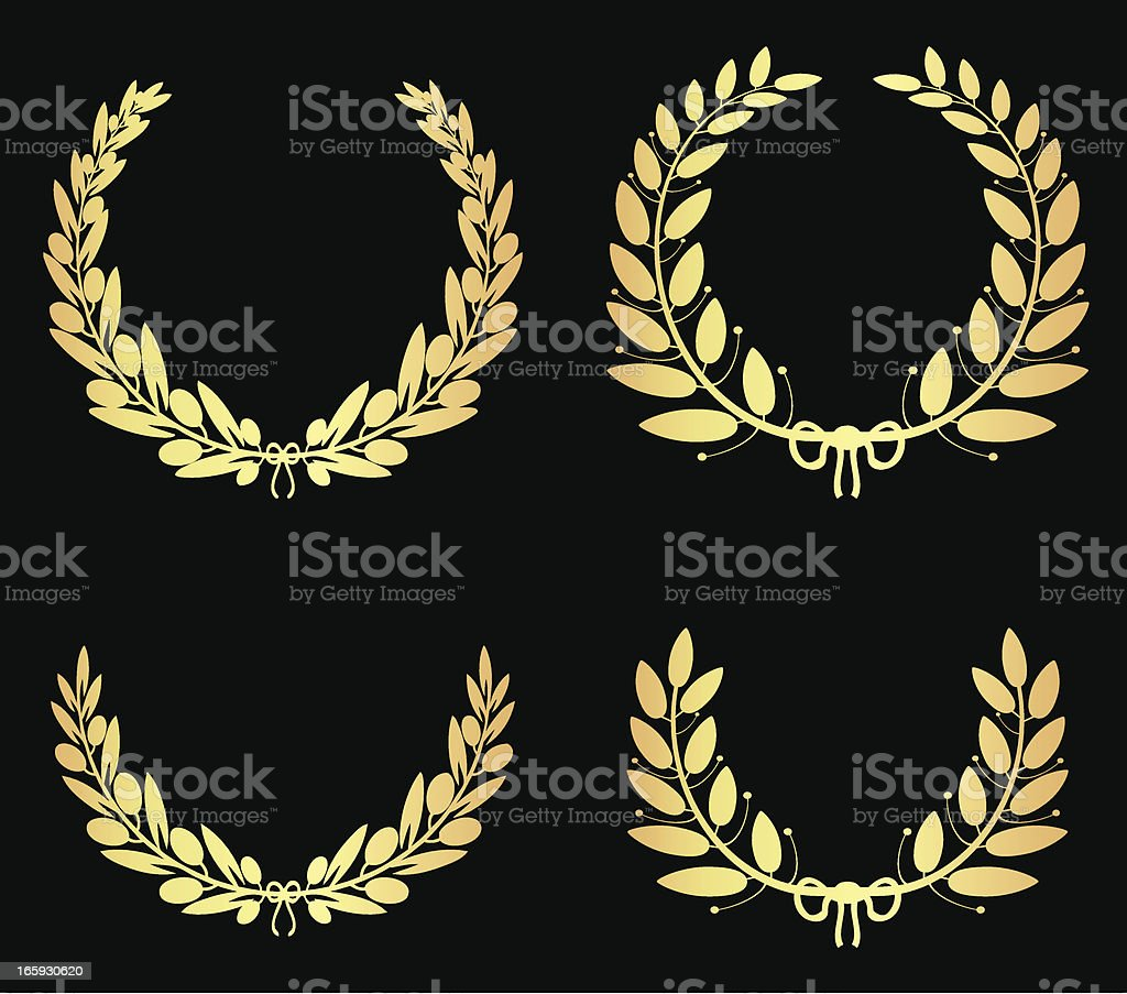 Golden Olive Laurel Wreaths royalty-free stock vector art
