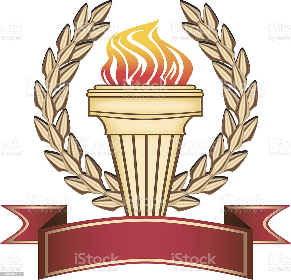 Golden Olympic Torch vector art illustration