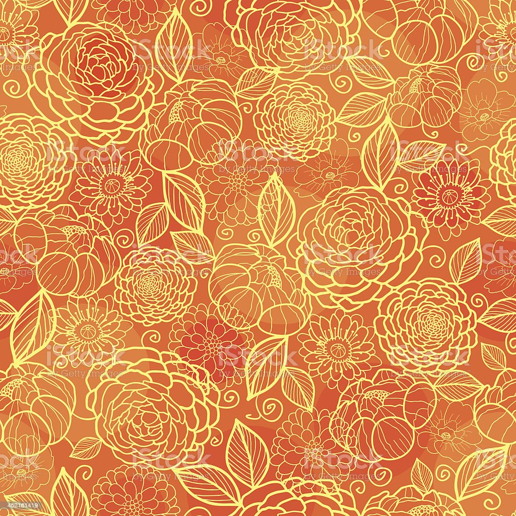 Golden orange floral texture seamless pattern background royalty-free stock vector art