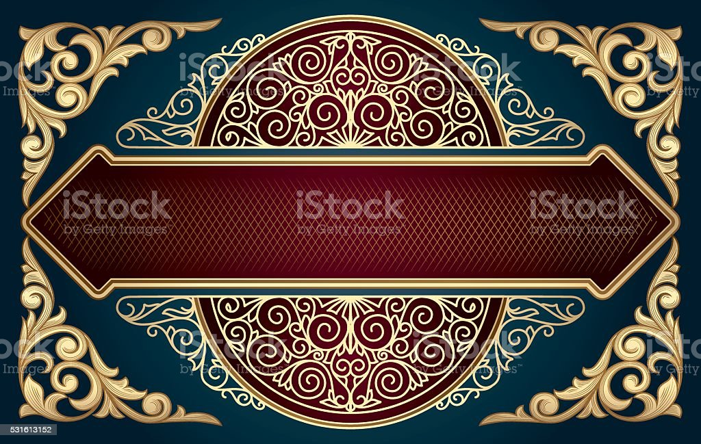 Golden ornate decorative design vector art illustration
