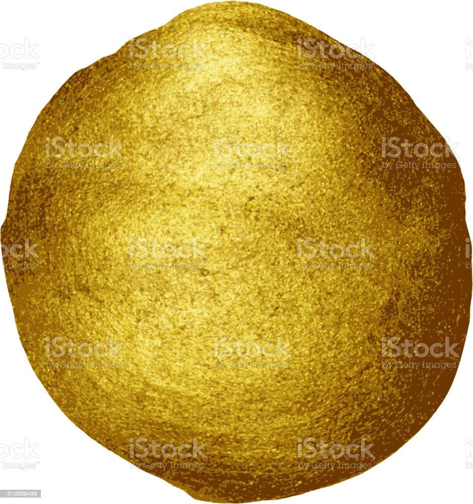 Golden paint brush stroke round stain vector art illustration