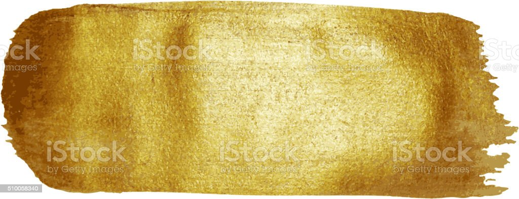 Golden paint brush stroke stain vector art illustration