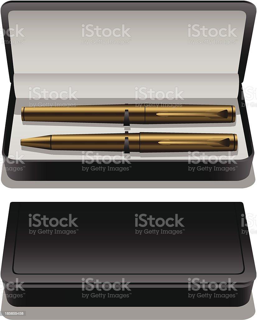 Golden pen in case royalty-free stock vector art