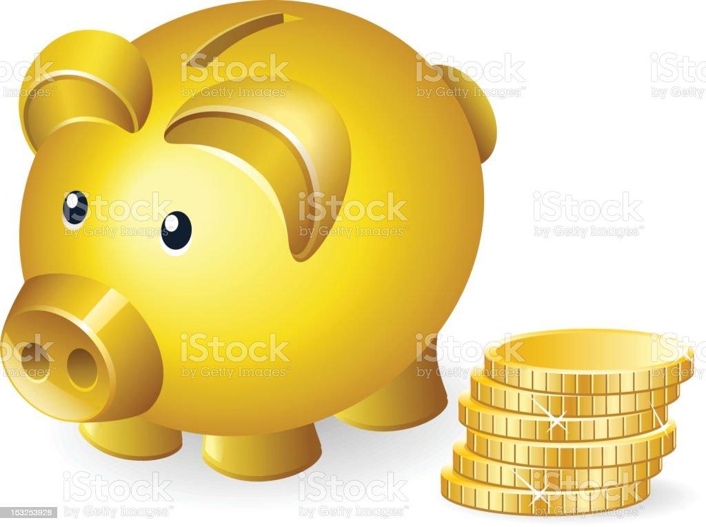 Golden Piggybank royalty-free stock vector art