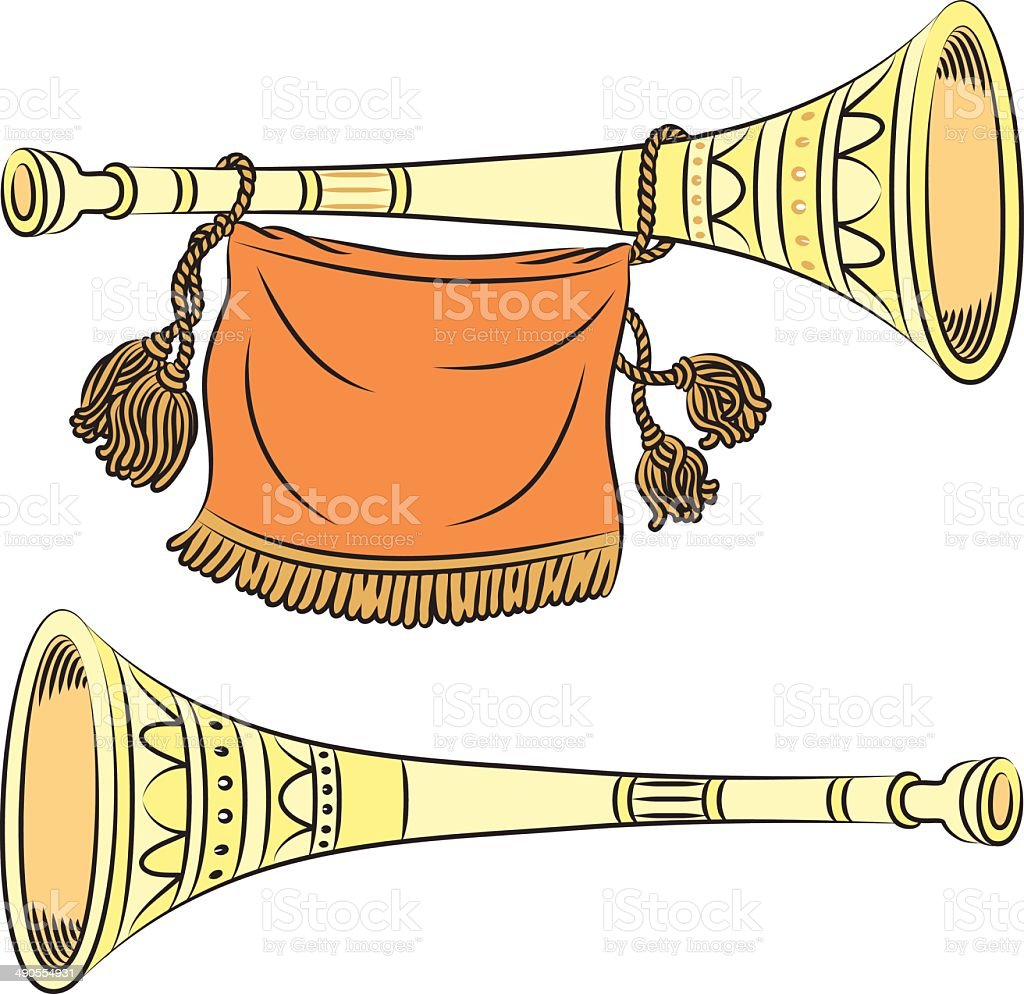 Golden pipe vector art illustration
