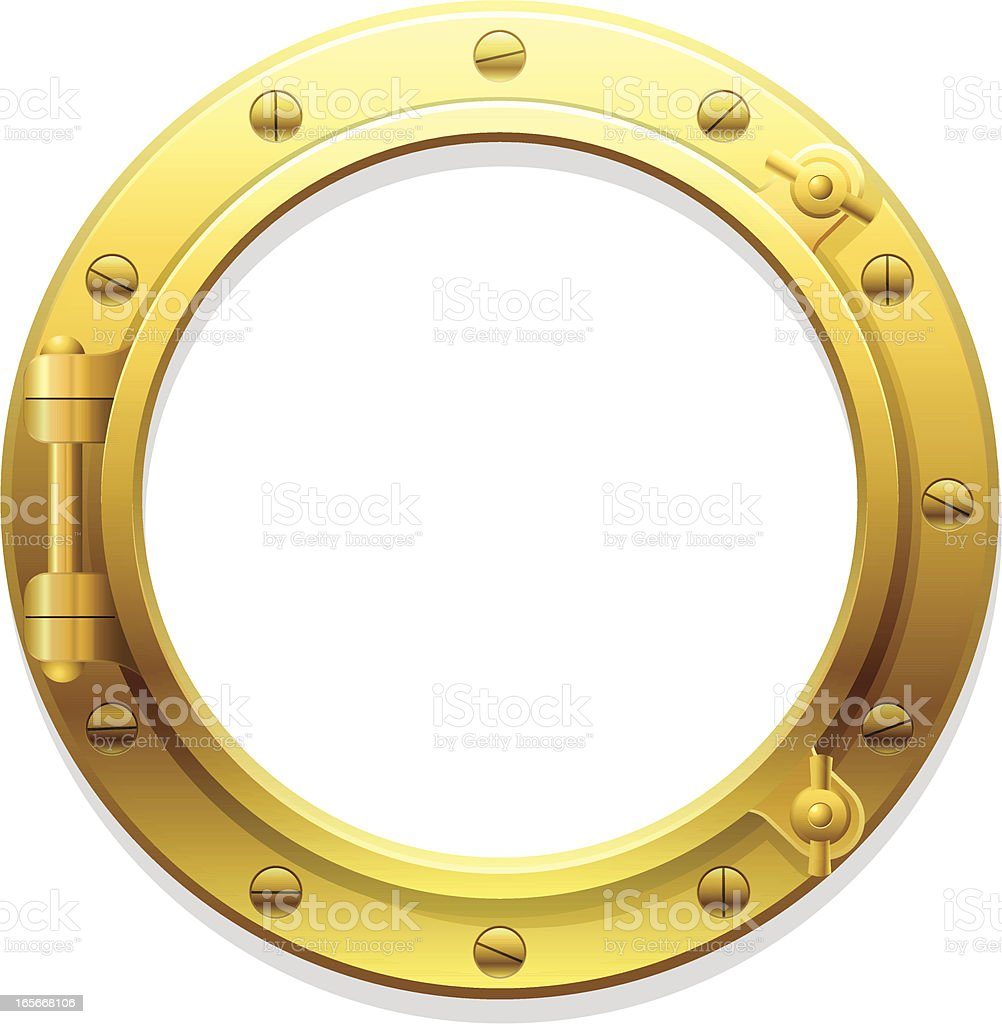 A golden porthole set against a white background royalty-free stock vector art