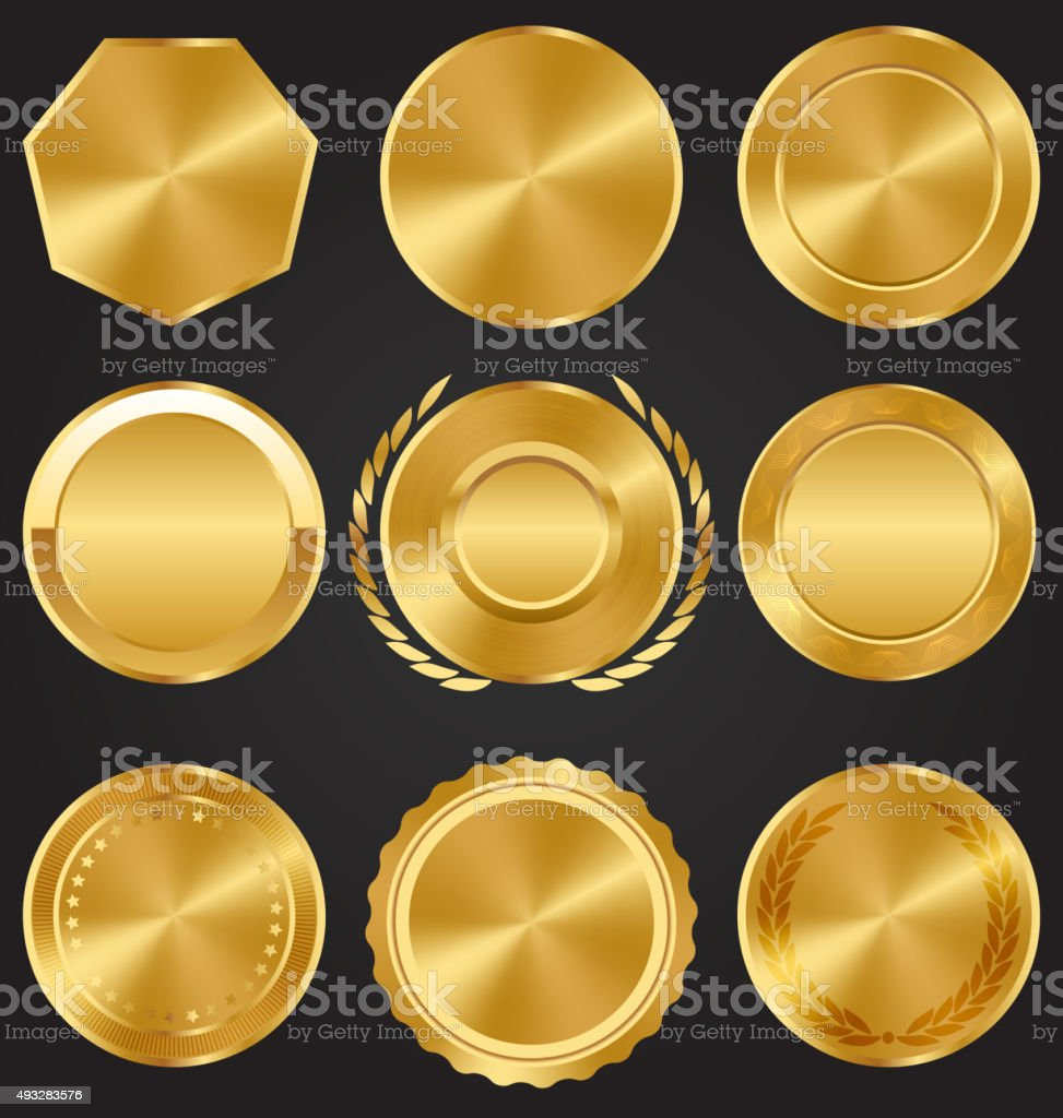 Golden Premium Quality Best Labels Medals Collection on Dark vector art illustration