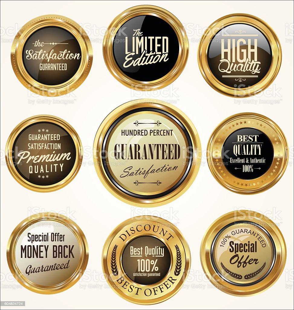 Golden retro vintage badges collection vector art illustration