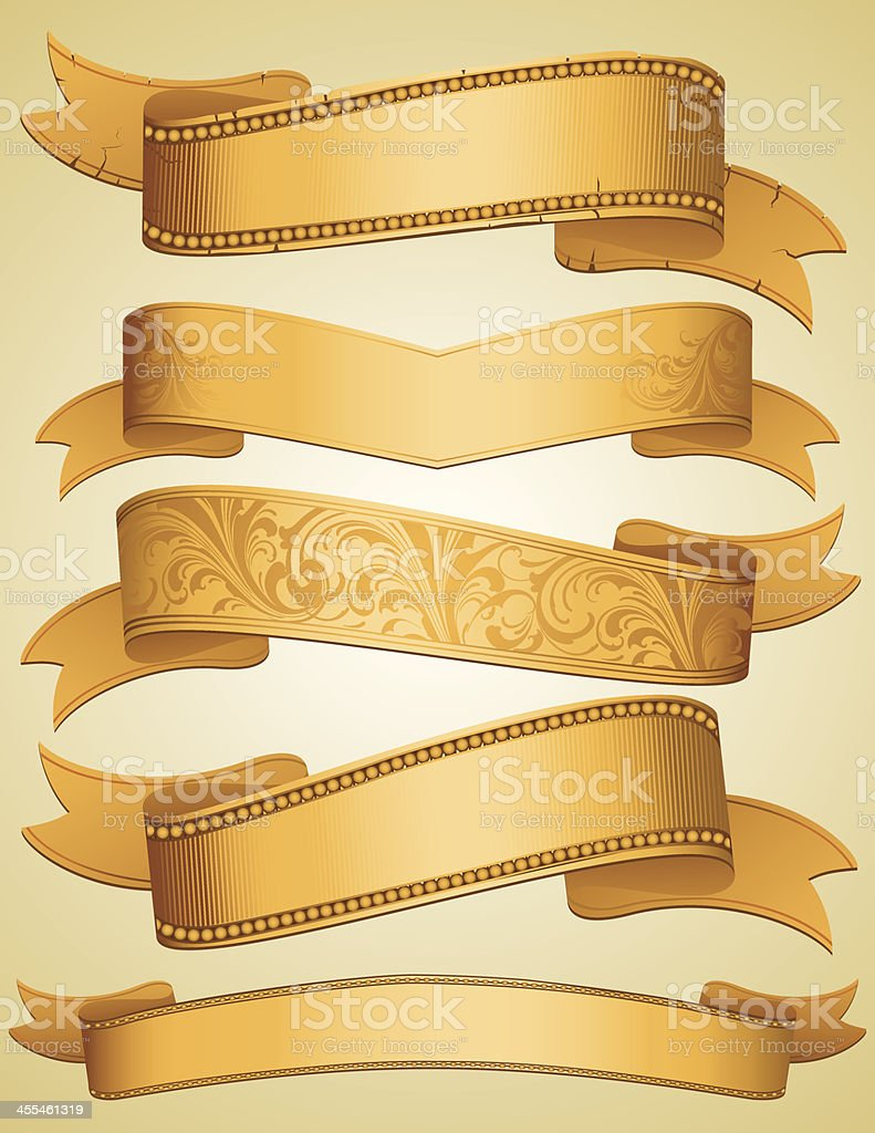 Golden Ribbon Banners set royalty-free stock vector art