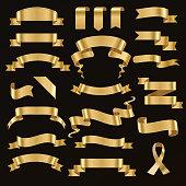 Golden ribbon vector illustration.