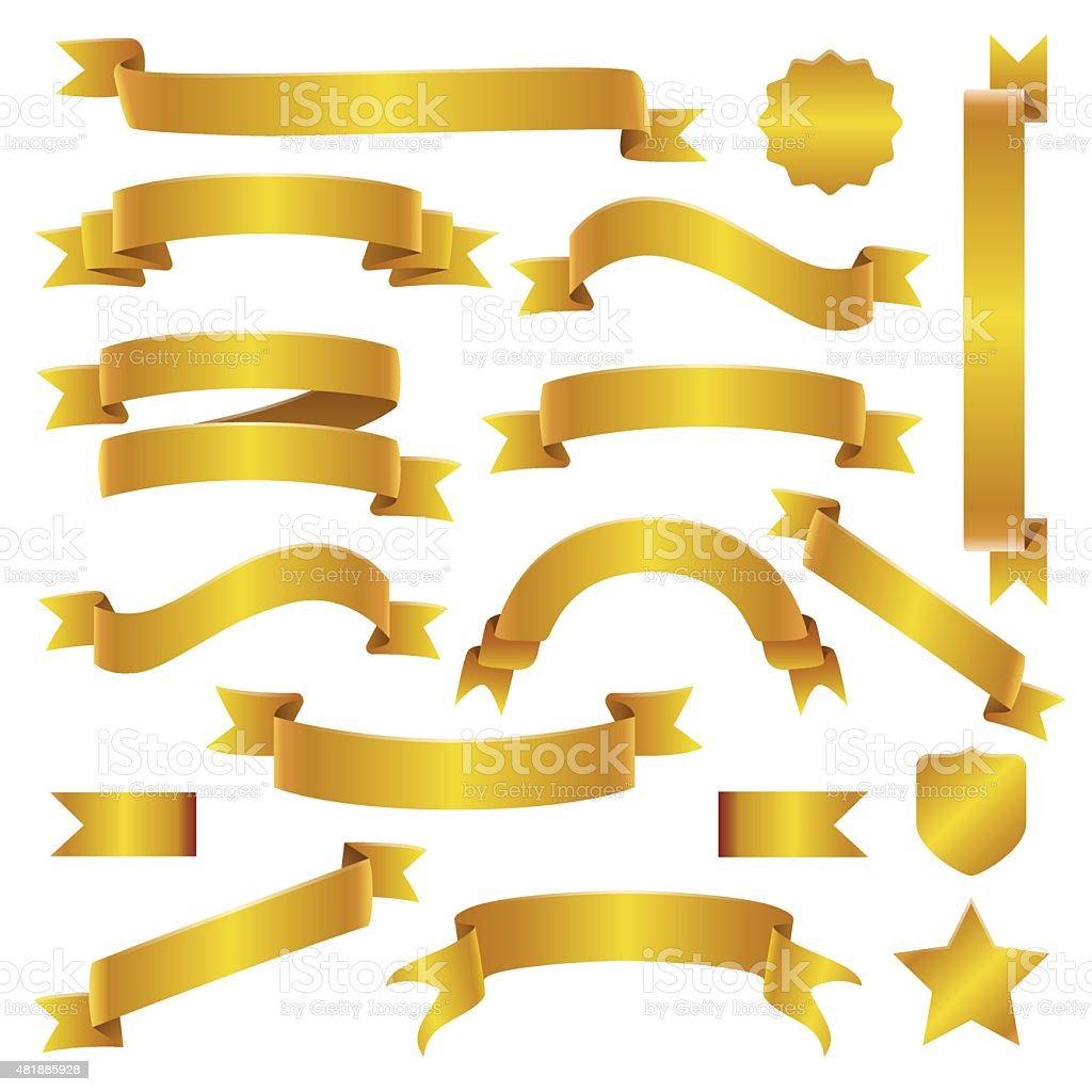 Golden Ribbons and Banners Set vector art illustration