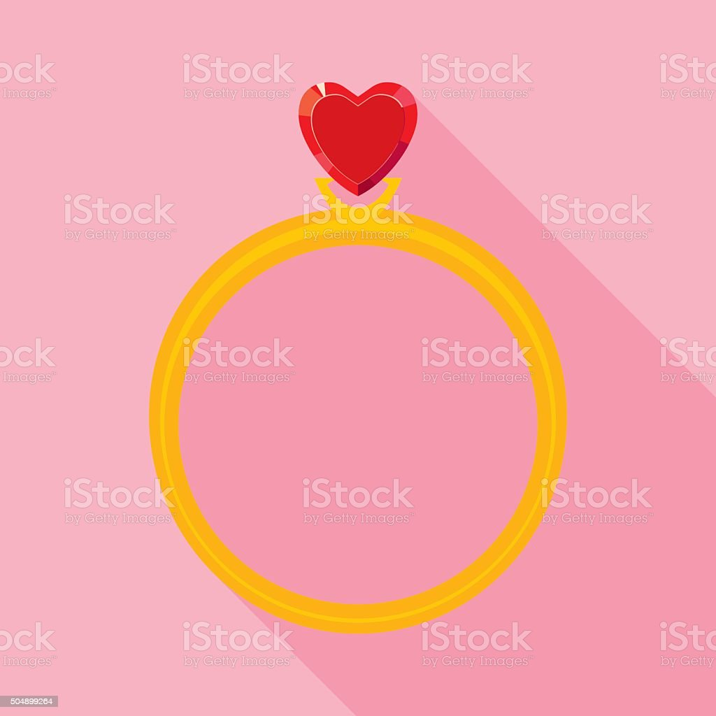 Golden Ring with Red Valentine Crystal Heart in Flat Style vector art illustration