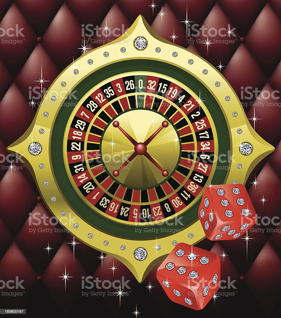Golden Roulette with Gaming Diamond Dices Vector vector art illustration