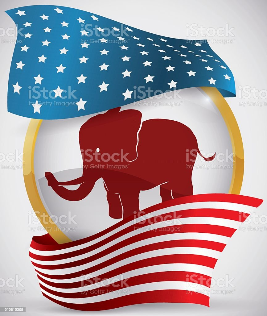 Golden Round Button with Elephant and American Flag Around it vector art illustration