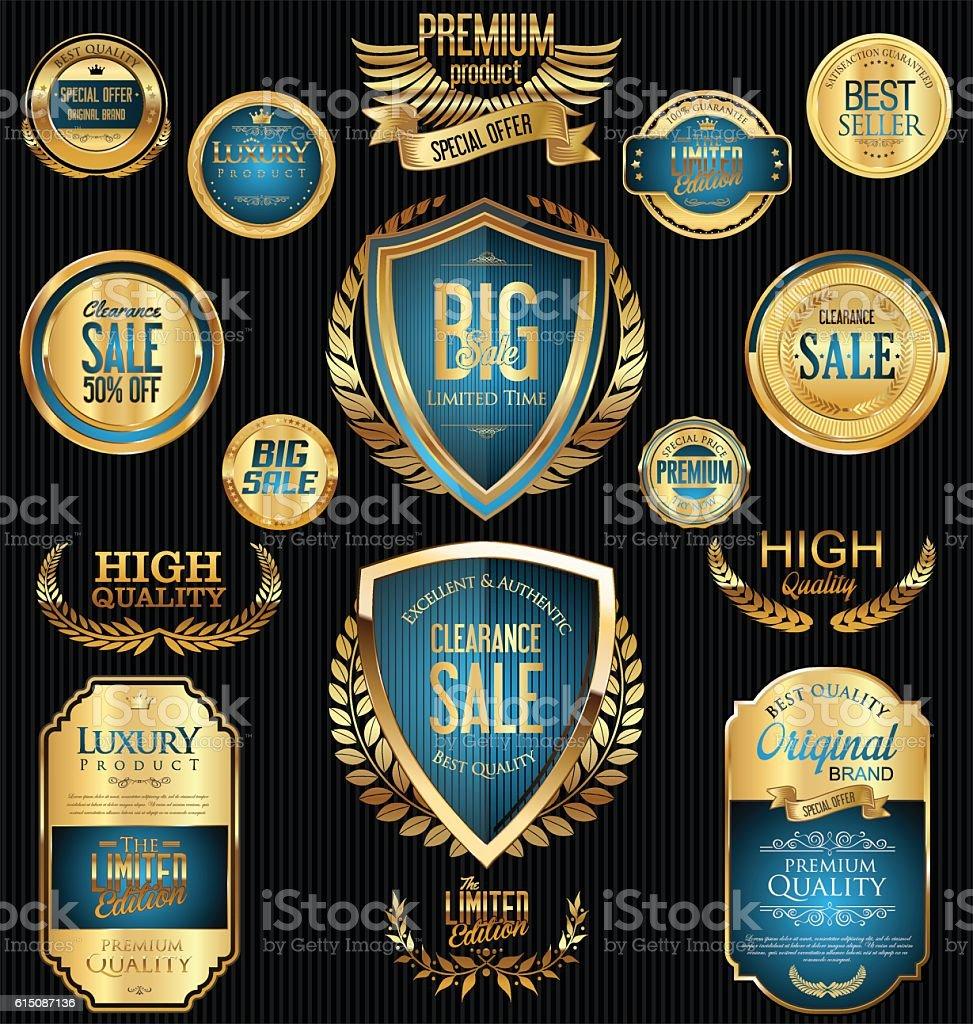 Golden sale badges and labels retro vintage collection vector art illustration