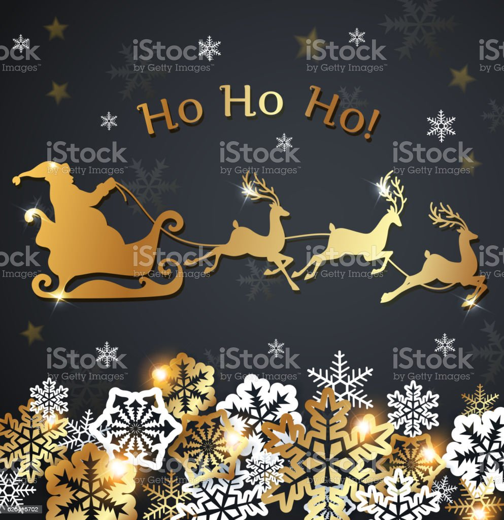 Golden Santa Claus and snowflakes vector art illustration