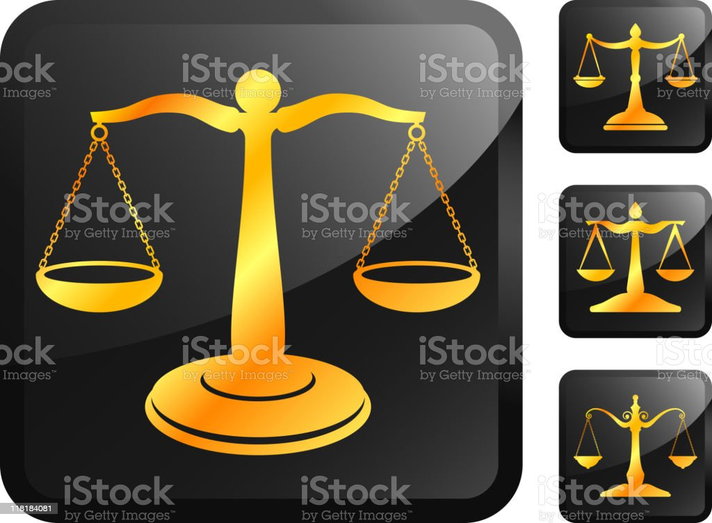 Golden scale of justice buttons royalty-free stock vector art