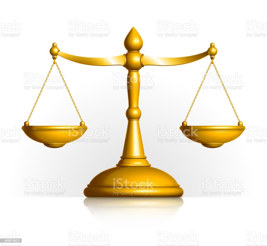 Golden Scales of Justice on white Background vector art illustration