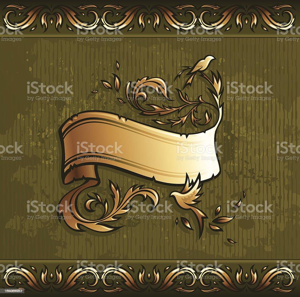 Golden scroll & birds royalty-free stock vector art