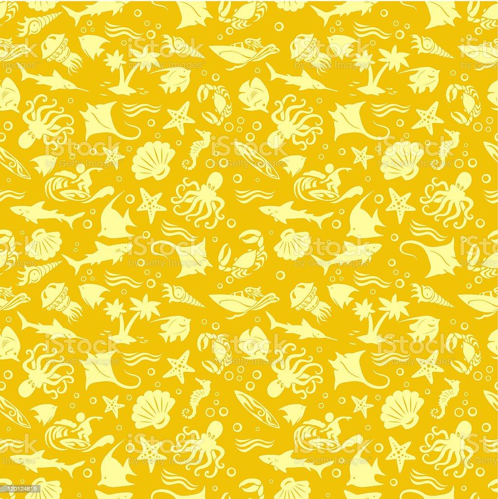 Golden Sea Life Pattern royalty-free stock vector art