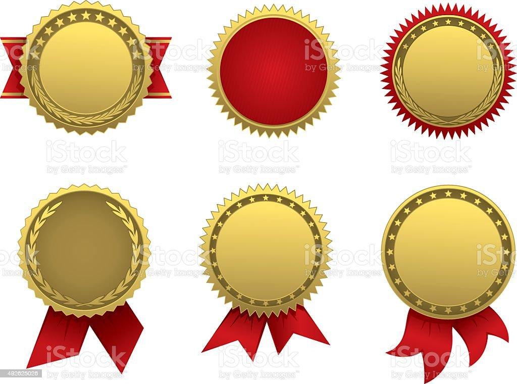 Golden seal vector art illustration