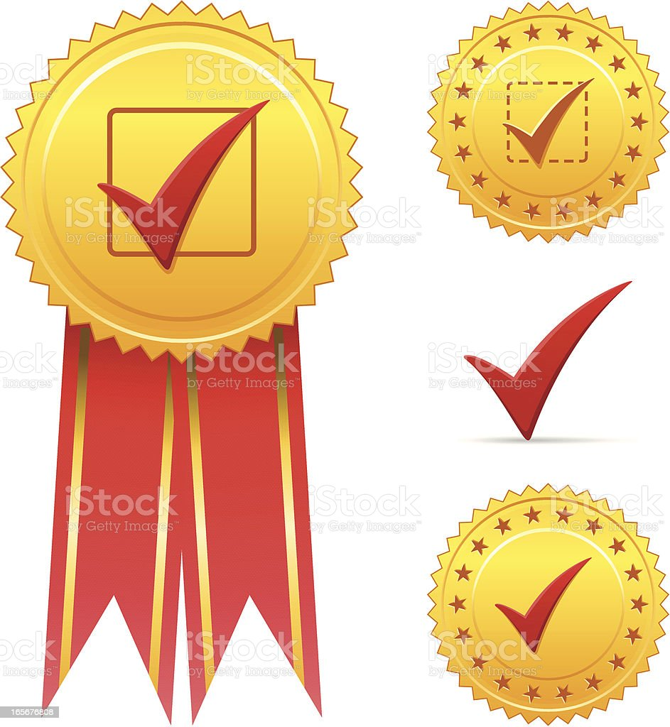 Golden seals with check marks royalty-free stock vector art