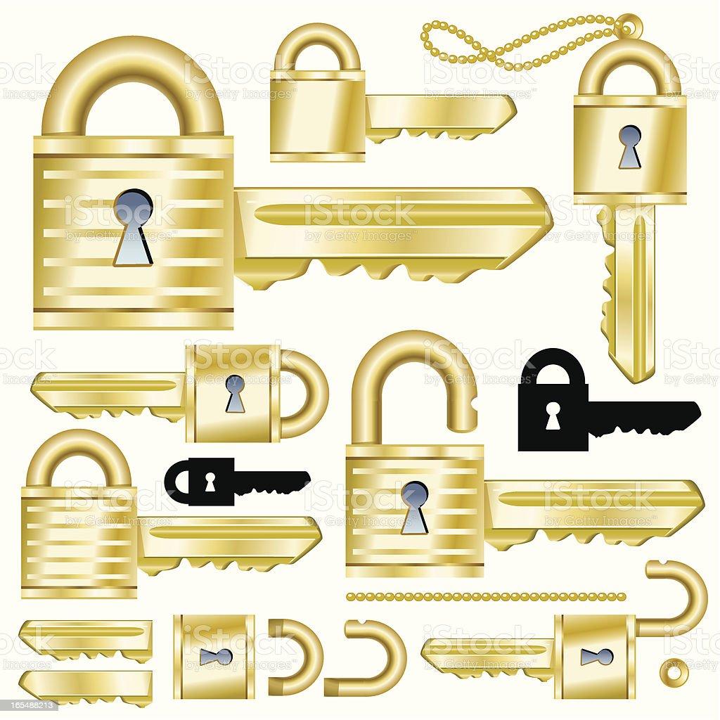 Golden Security Key vector art illustration