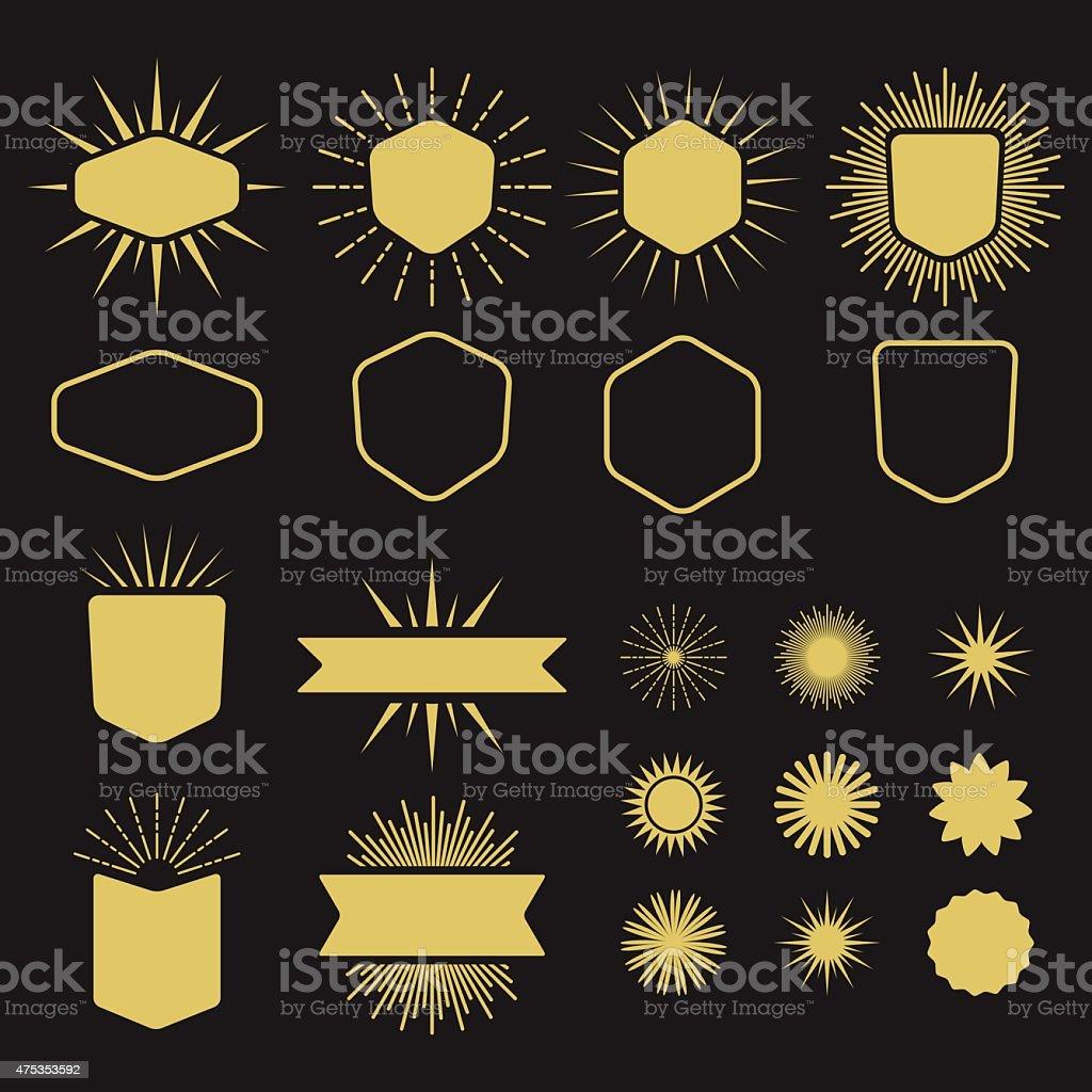 Golden set of silhouette design elements vector art illustration
