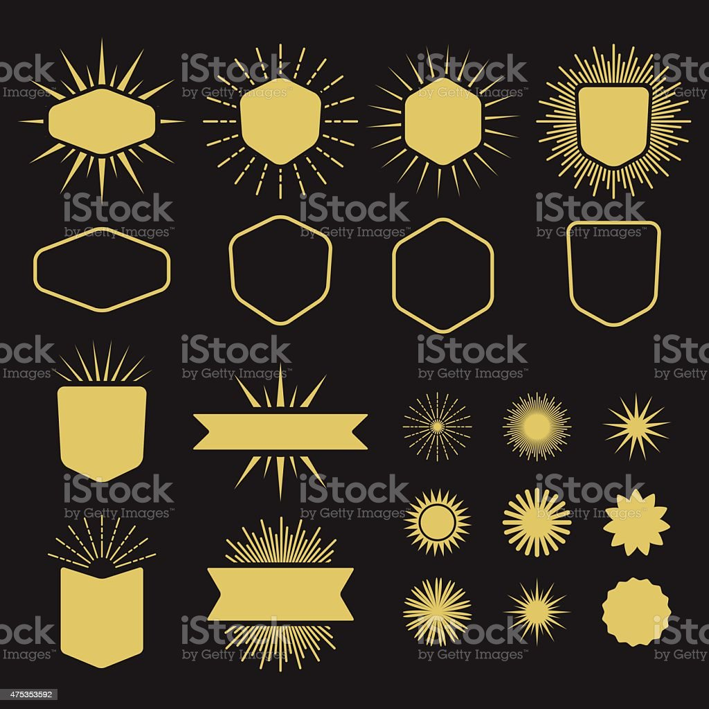 Golden set of silhouette design elements vector art illustration