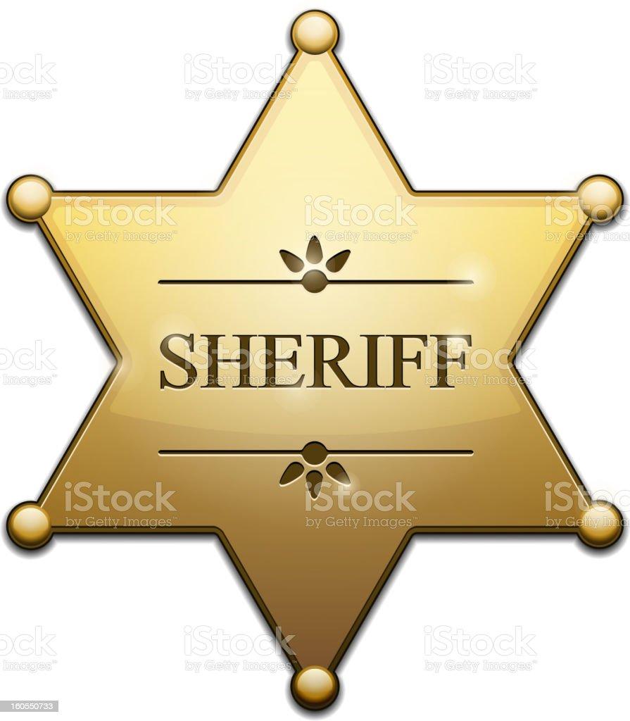 Golden Sheriff Star vector art illustration