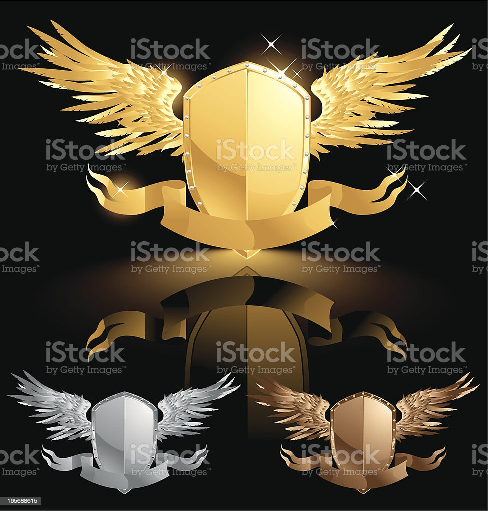 Golden Shield with Wings royalty-free stock vector art
