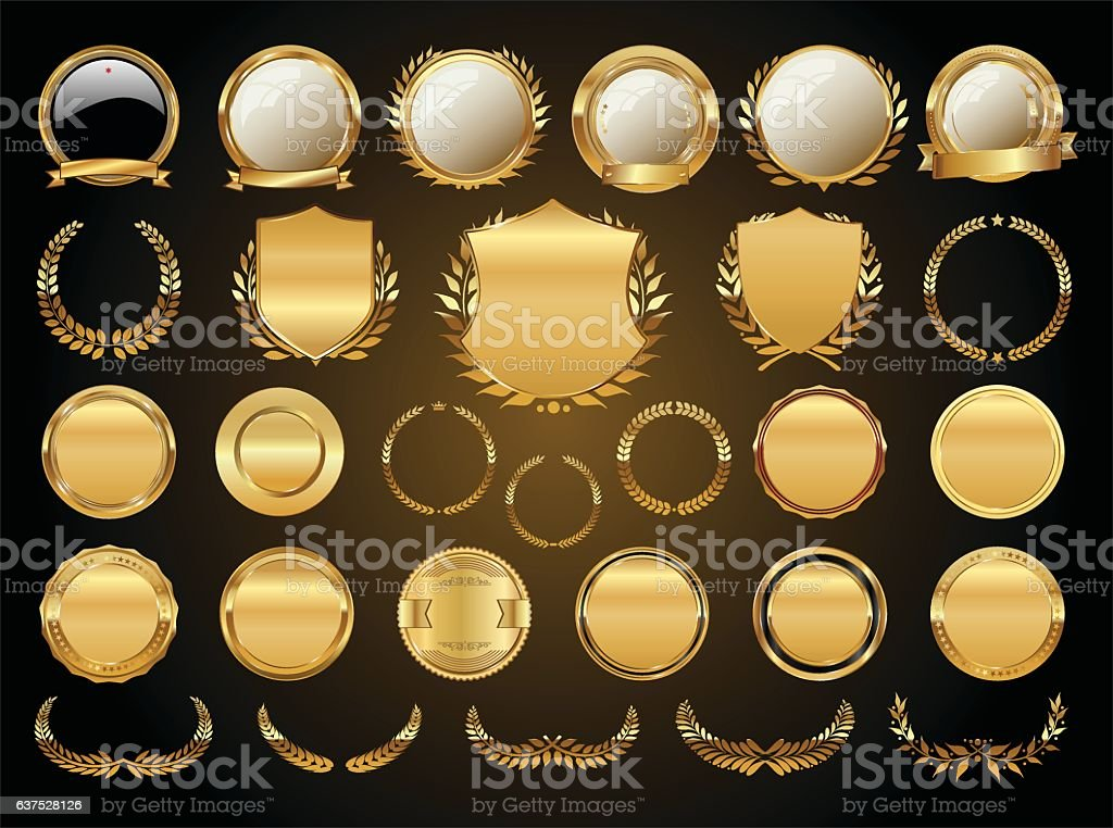 Golden shields laurel wreaths and badges collection vector art illustration