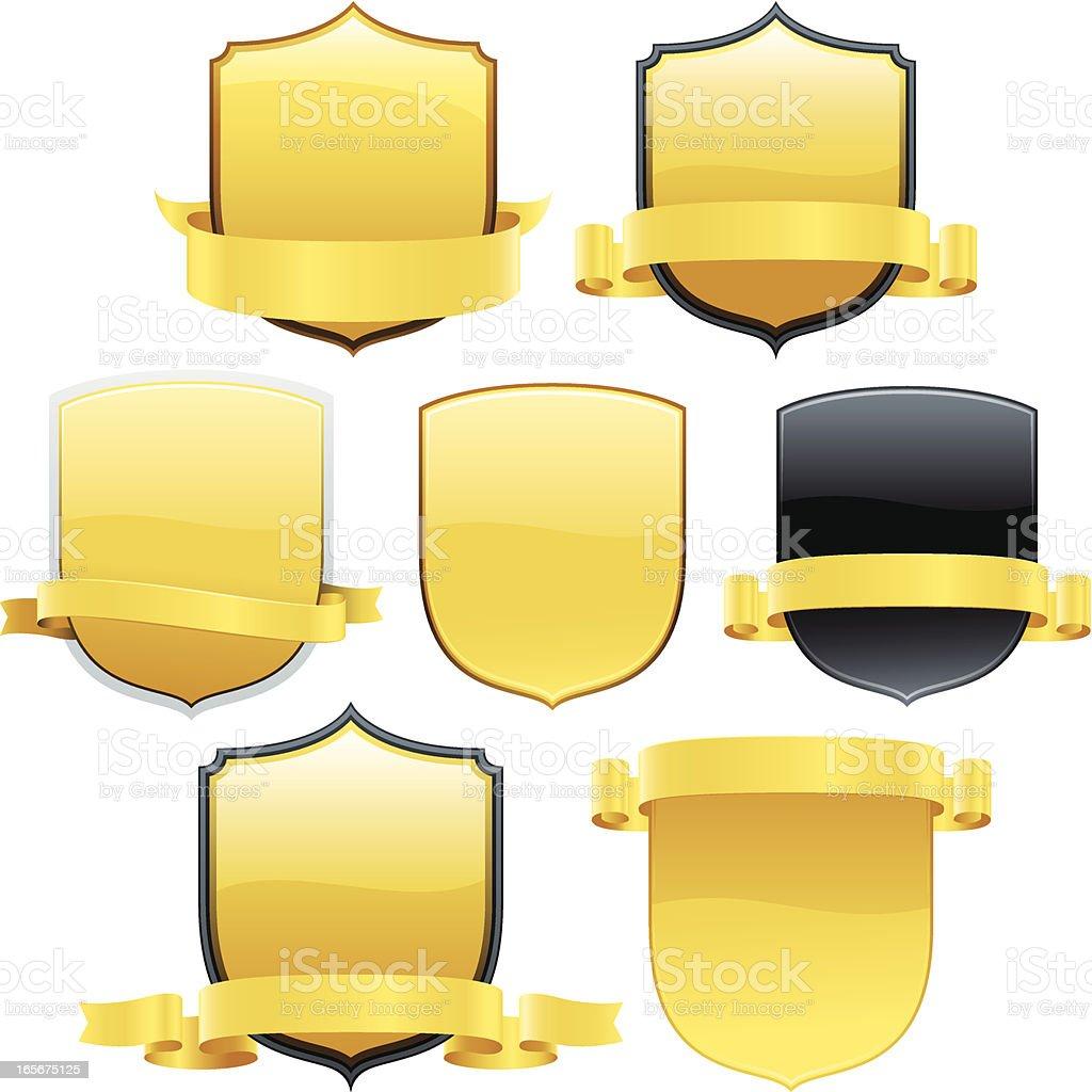 Golden Shields royalty-free stock vector art