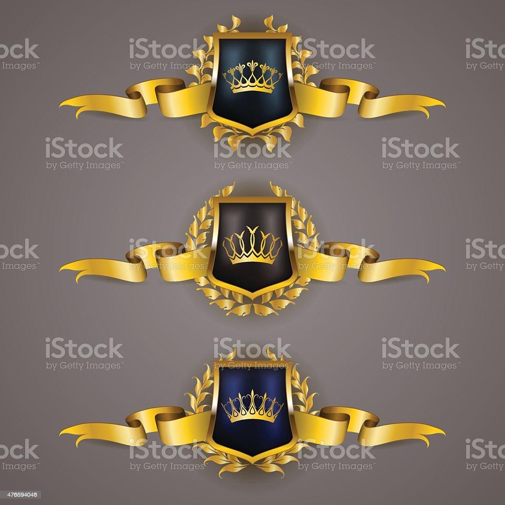 Golden shields with laurel wreath vector art illustration