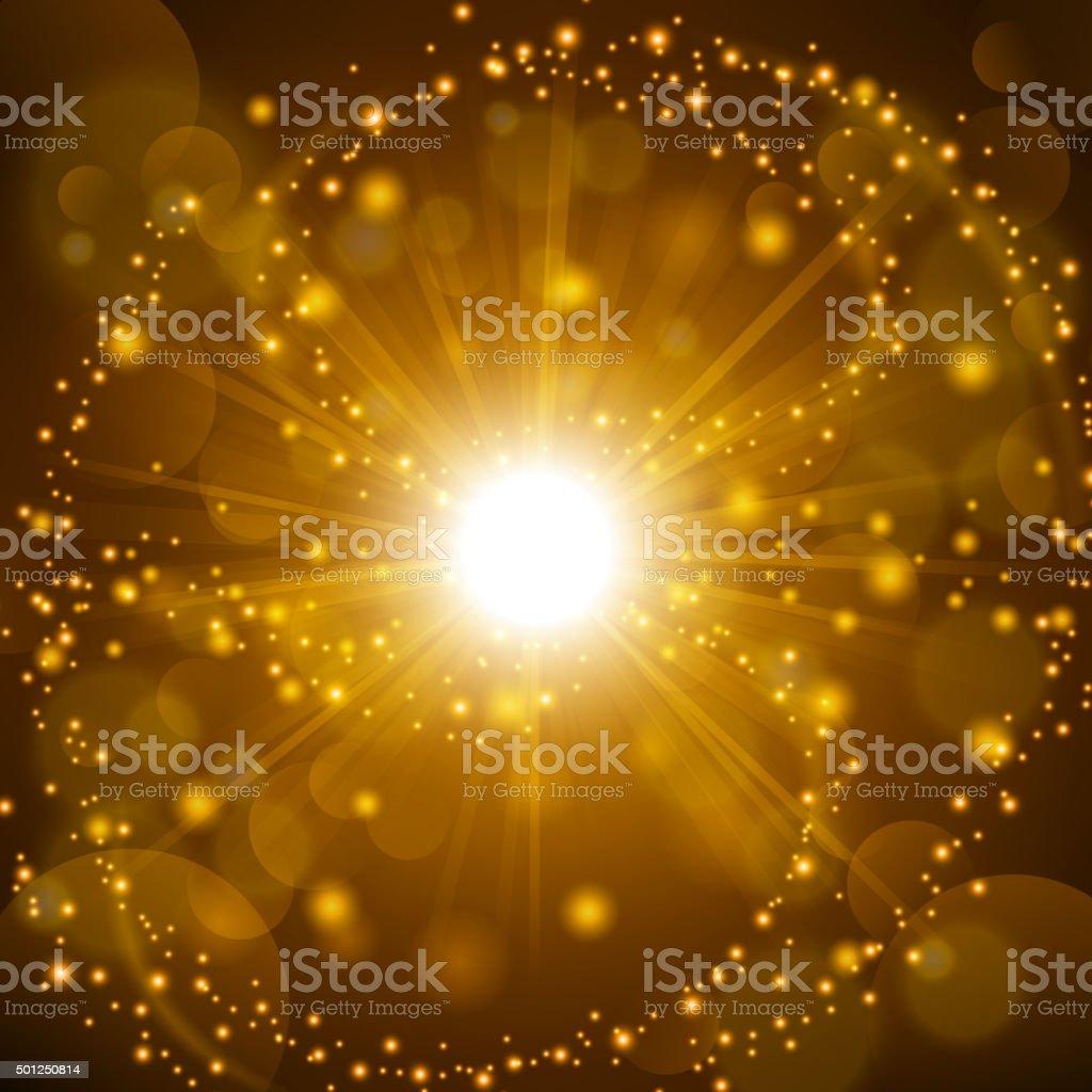 Golden shine with lens flare background vector art illustration