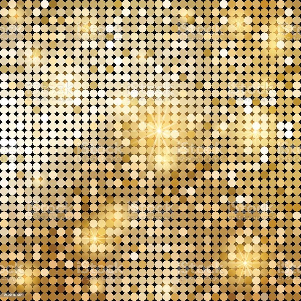 Golden shiny mosaic in disco ball style vector art illustration