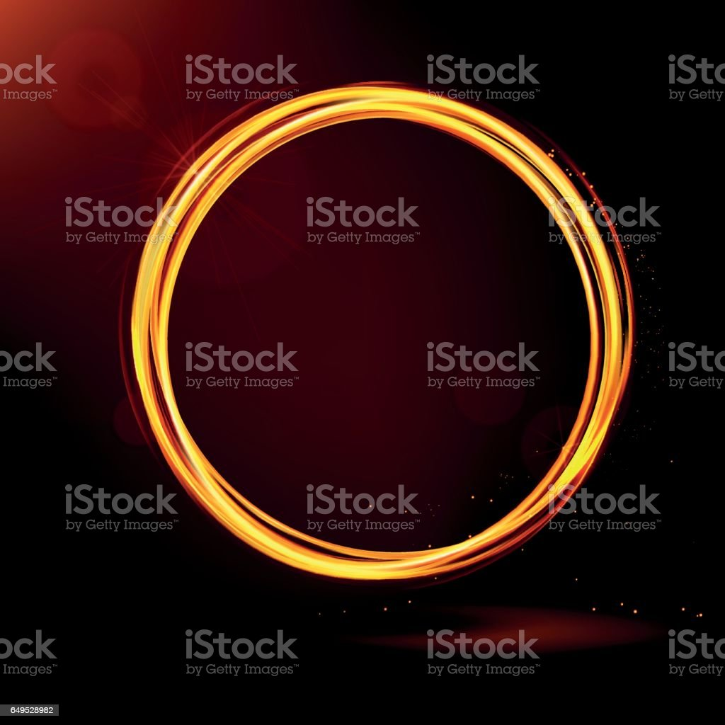 Golden shiny rings. Light effects, glare and reflections. vector art illustration