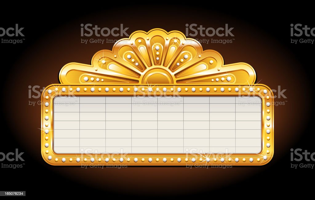 Golden shiny sign containing a blank spreadsheet vector art illustration